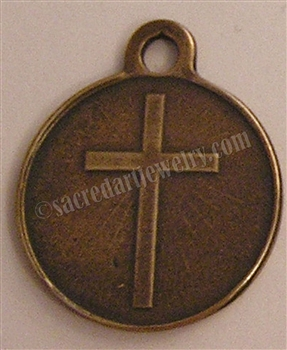 "Christian Cross Charm Medal 1"" - Catholic religious medals in authentic antique and vintage styles with amazing detail. Large collection of heirloom pieces made by hand in California, US. Available in true bronze and sterling silver"
