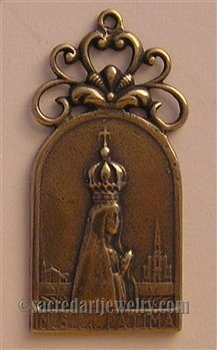 "Our Lady of Fatima Medal 1 3/4"" - Catholic religious medals in authentic antique and vintage styles with amazing detail. Large collection of heirloom pieces made by hand in California, US. Available in true bronze and sterling silver"