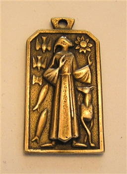 "Saint Francis Medal by Fernand Py 1 1/8"" - Catholic religious medals in authentic antique and vintage styles with amazing detail. Large collection of heirloom pieces made by hand in California, US. Available in true bronze and sterling silver"
