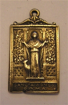 "Saint Agnes Medal 1"" - Catholic religious medals in authentic antique and vintage styles with amazing detail. Large collection of heirloom pieces made by hand in California, US. Available in true bronze and sterling silver"