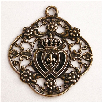 "Two Hearts Filigree Pendant 1 3/4"" - Catholic religious medals in authentic antique and vintage styles with amazing detail. Large collection of heirloom pieces made by hand in California, US. Available in true bronze and sterling silver."
