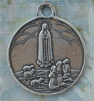 "Our Lady of Fatima Medal, World Peace 1 3/8""- Catholic religious medals in authentic antique and vintage styles with amazing detail. Large collection of heirloom pieces made by hand in California, US. Available in true bronze and sterling silver."