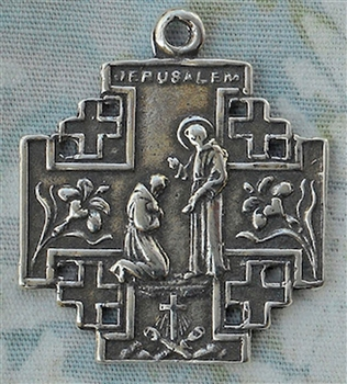 "St Francis Jerusalem Cross Medal 1 1/8"" - Catholic religious medals in authentic antique and vintage styles with amazing detail. Large collection of heirloom pieces made by hand in California, US. Available in true bronze and sterling silver"