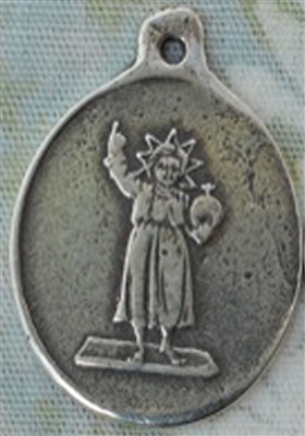 "Infant Jesus Medal 15/16"" - Catholic religious medals in authentic antique and vintage styles with amazing detail. Large collection of heirloom pieces made by hand in California, US. Available in true bronze and sterling silver"
