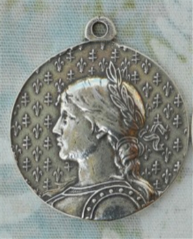 "Joan of Arc Medallion Profile 1 3/8"" - Catholic religious medals in authentic antique and vintage styles with amazing detail. Large collection of heirloom pieces made by hand in California, US. Available in true bronze and sterling silver"