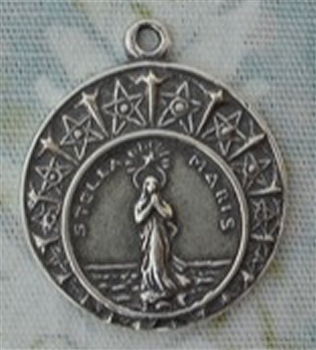 "Stella Maris Medal Small 3/4"" - Catholic religious medals in authentic antique and vintage styles with amazing detail. Large collection of heirloom pieces made by hand in California, US. Available in true bronze and sterling silver"