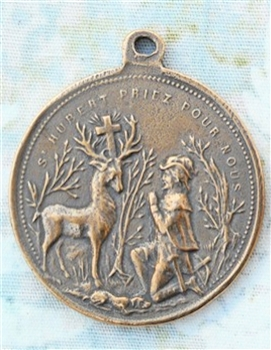 "St Hubert St Anthony of Padua Medal 1 5/8"" - Catholic religious medals in authentic antique and vintage styles with amazing detail. Large collection of heirloom pieces made by hand in California, US. Available in true bronze and sterling silver"
