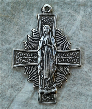 "Our Lady of the Rosary Medal 1 3/8"" - Catholic religious medals and medallions in authentic antique and vintage styles with amazing detail. Large collection of heirloom pieces made by hand in California, US. Available in true bronze and sterling silver."