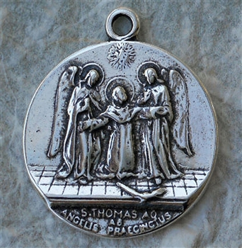 "St Thomas Aquinas Medal 1"" - Catholic religious medals in authentic antique and vintage styles with amazing detail. Large collection of heirloom pieces made by hand in California, US. Available in true bronze and sterling silver"