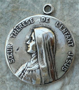 "St Therese Medal 7/8"" - Catholic religious medals in authentic antique and vintage styles with amazing detail. Large collection of heirloom pieces made by hand in California, US. Available in true bronze and sterling silver"