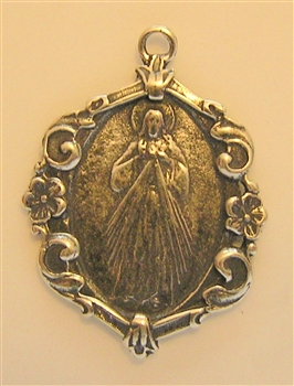"Divine Mercy Jesus I Trust in You Medal 1 3/8"" - Catholic religious medals in authentic antique and vintage styles with amazing detail. Large collection of heirloom pieces made by hand in California, US. Available in true bronze and sterling silver"