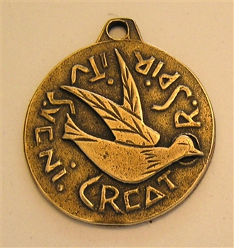 "Holy Spirit Medal 1 3/8"" - Catholic religious medals in authentic antique and vintage styles with amazing detail. Large collection of heirloom pieces made by hand in California, US. Available in true bronze and sterling silver"