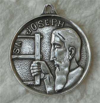 "Saint Joseph Pendant 7/8""  - Catholic religious medals in authentic antique and vintage styles with amazing detail. Large collection of heirloom pieces made by hand in California, US. Available in true bronze and sterling silver"