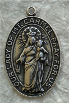 "Our Lady of Mount Carmel Medal Pendant 1"" - Catholic religious medals in authentic antique and vintage styles with amazing detail. Large collection of heirloom pieces made by hand in California, US. Available in true bronze and sterling silver"