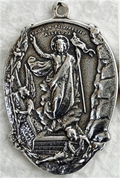 "Easter Medal, Lamb of God, Agnus Dei 1 1/4"" - Catholic religious medals in authentic antique and vintage styles with amazing detail. Large collection of heirloom pieces made by hand in California, US. Available in true bronze and sterling silver"
