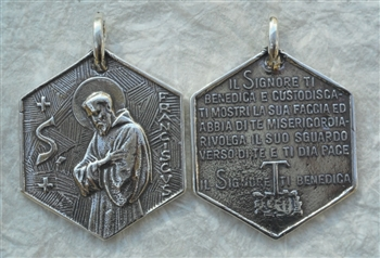 "MEDAL St. Francis St. Benedict Prayer 1 1/2"" - Catholic religious medals in authentic antique and vintage styles with amazing detail. Large collection of heirloom pieces made by hand in California, US. Available in true bronze and sterling silver"