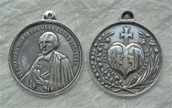 "St John Eudes Medal 1 1/4"" - Catholic religious medals in authentic antique and vintage styles with amazing detail. Large collection of heirloom pieces made by hand in California, US. Available in true bronze and sterling silver"