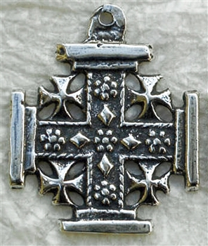 "Jerusalem Cross Pendant 1 1/16"" - Catholic religious medals in authentic antique and vintage styles with amazing detail. Large collection of heirloom pieces made by hand in California, US. Available in true bronze and sterling silver"