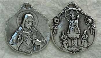 "Our Lady of Montagu Scapular Medal 7/8"" - Catholic religious medals in authentic antique and vintage styles with amazing detail. Large collection of heirloom pieces made by hand in California, US. Available in true bronze and sterling silver"