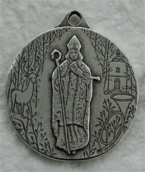 "St Hubert Medal, Commemorative 1 1/8"" - Catholic religious medals in authentic antique and vintage styles with amazing detail. Large collection of heirloom pieces made by hand in California, US. Available in true bronze and sterling silver"