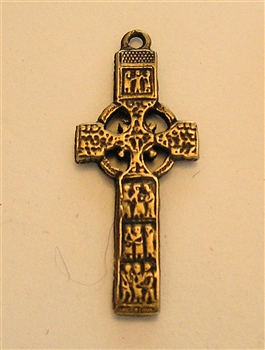 "Small Celtic Cross 1 1/8"" - Catholic religious medals in authentic antique and vintage styles with amazing detail. Large collection of heirloom pieces made by hand in California, US. Available in true bronze and sterling silver"