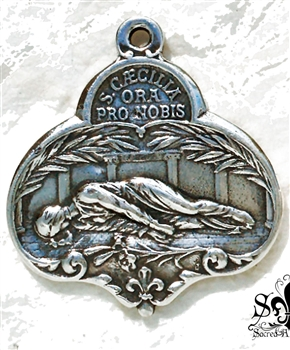 "St Cecilia Medal 1 1/4"" - Catholic religious medals in authentic antique and vintage styles with amazing detail. Large collection of heirloom pieces made by hand in California, US. Available in true bronze and sterling silver"