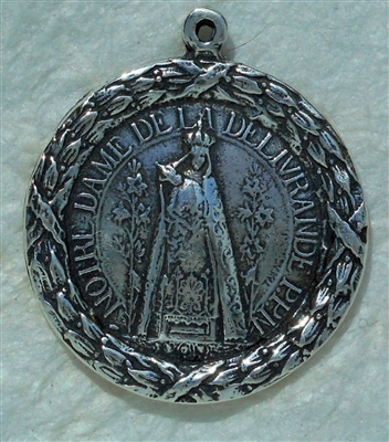 "Our Lady of Notre Dame Medal 1 1/16"" - Catholic religious medals in authentic antique and vintage styles with amazing detail. Large collection of heirloom pieces made by hand in California, US. Available in true bronze and sterling silver"