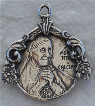 "Mother Teresa Medal 15/16"" - Catholic religious medals in authentic antique and vintage styles with amazing detail. Large collection of heirloom pieces made by hand in California, US. Available in true bronze and sterling silver"