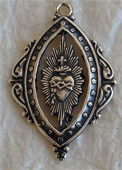 "Sacred Heart Pendant 7/8"" - Catholic religious medals in authentic antique and vintage styles with amazing detail. Large collection of heirloom pieces made by hand in California, US. Available in true bronze and sterling silver"