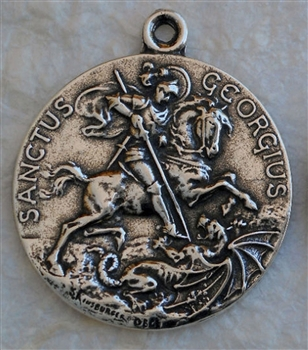 "St George Medal 1 1/4"" - Catholic religious medals in authentic antique and vintage styles with amazing detail. Large collection of heirloom pieces made by hand in California, US. Available in true bronze and sterling silver."