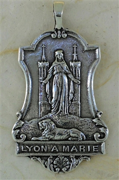 "Our Lady of Notre Dame Medal 1"" - Catholic religious medals in authentic antique and vintage styles with amazing detail. Large collection of heirloom pieces made by hand in California, US. Available in true bronze and sterling silver"