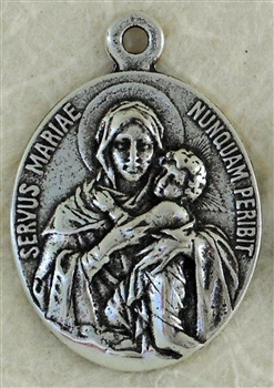 "Blessed Mother Medal 1"" - Catholic religious medals in authentic antique and vintage styles with amazing detail. Large collection of heirloom pieces made by hand in California, US. Available in true bronze and sterling silver"