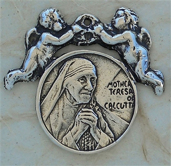 "Mother Teresa Medal with Angels 1"" - Catholic religious medals in authentic antique and vintage styles with amazing detail. Large collection of heirloom pieces made by hand in California, US. Available in true bronze and sterling silver."