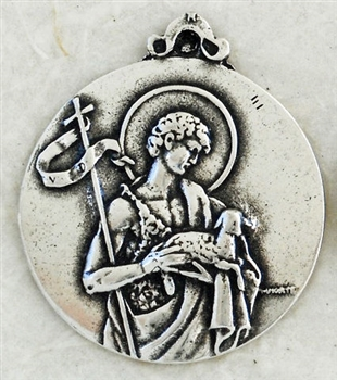 "St John the Baptist Medal 7/8"" - Catholic religious medals in authentic antique and vintage styles with amazing detail. Large collection of heirloom pieces made by hand in California, US. Available in true bronze and sterling silver"