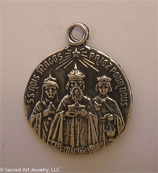 "Three Kings Medal 1"" - Catholic religious medals in authentic antique and vintage styles with amazing detail. Large collection of heirloom pieces made by hand in California, US. Available in sterling silver and true bronze"