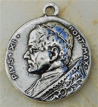 "Pope Pius XI Medal 7/8"" - Catholic religious medals and medallions in authentic antique and vintage styles with amazing detail. Large collection of heirloom pieces made by hand in California, US. Available in true bronze and sterling silver."