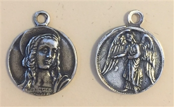 "Mary Magdalene, Guardian Angel Medal 3/4""  - Catholic religious medals in authentic antique and vintage styles with amazing detail. Large collection of heirloom pieces made by hand in California, US. Available in sterling silver and true bronze."