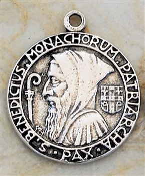 "Hooded St. Benedict Prayer Medal 7/8"" - Catholic religious medals in authentic antique and vintage styles with amazing detail. Large collection of heirloom pieces made by hand in California, US. Available in sterling silver and true bronze."