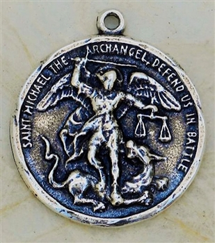 "St. Michael Slamming the Devil Medal 1 1/8"" - Catholic religious medals in authentic antique and vintage styles with amazing detail. Large collection of heirloom pieces made by hand in California, US. Available in true bronze and sterling silver."