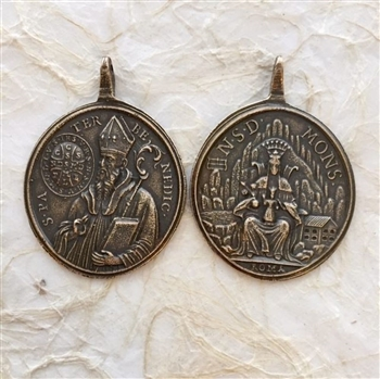St. Benedict with Book, Prayer/Our Lady of Montserrat – ROMA. 2 1/4″- Catholic religious medals in authentic antique and vintage styles with amazing detail. Large collection of heirloom pieces made by hand in California, US. Available