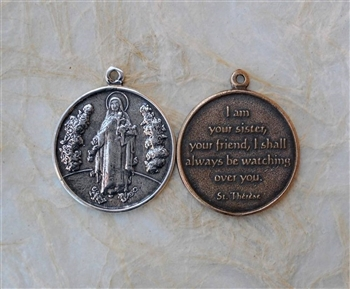 Sister Theresa of the Little Flower/I shall always watch over you - Catholic religious medals in authentic antique and vintage styles with amazing detail. Large collection of heirloom pieces made by hand in California, US. Available in sterling silver