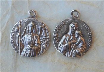 St. Raphael, ArchAngel / Saint John and young Jesus – Spain 3/4″ - Catholic religious medals in authentic antique and vintage styles with amazing detail. Large collection of heirloom pieces made by hand in California, US. Available