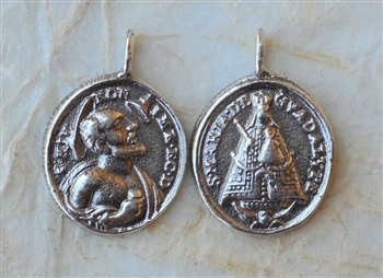 Our Lady of Guadalupe / Saint Jerome of Werden, 3/4″- Catholic religious medals in authentic antique and vintage styles with amazing detail. Large collection of heirloom pieces made by hand in California, US. Available in sterling silver
