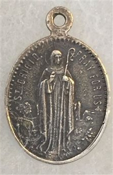 "Saint Brigid of Ireland/Saint Patrick Pray for Us Medal 3/4"" - Catholic religious medals in authentic antique and vintage styles with amazing detail. Large collection of heirloom pieces made by hand in California, US. Available in sterling silver and true"