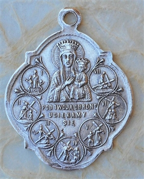 "Way of the Cross Medal 1 1/2"" - Catholic religious medals in authentic antique and vintage styles with amazing detail. Large collection of heirloom pieces made by hand in California, US. Available in true bronze and sterling silver"