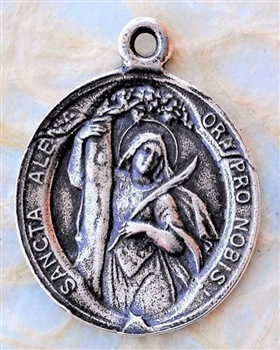 "Guardian Angel/St. Alena of Belgium, Martyr, Medal 7/8"" - Catholic religious medals in authentic antique and vintage styles with amazing detail. Large collection of heirloom pieces made by hand in California, US. Available in true bronze and sterling silv"