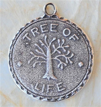 "Tree of Life Medal 7/8"" - Catholic religious medals in authentic antique and vintage styles with amazing detail. Large collection of heirloom pieces made by hand in California, US. Available in sterling sil"