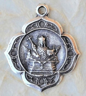 St  Agata, Agatha, Patron of Breast Cancer, Fire and Nursing Care, 1″-  Antique or Vintage Catholic Medallion, Necklace Pendant, Sterling Silver or