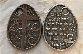 "Cross with Vine/ Rom.6.4 Resurrection Medal 1 1/8"" - Catholic religious medals in authentic antique and vintage styles with amazing detail. Large collection of heirloom pieces made by hand in California, US. Available in true bronze and sterling silver."