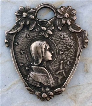 "Joan of Arc in Battle Dress, Stars and Flowers Medal 1 1/8"" - Catholic religious medals in authentic antique and vintage styles with amazing detail. Large collection of heirloom pieces made by hand in California, US. Available in true bronze and sterling"